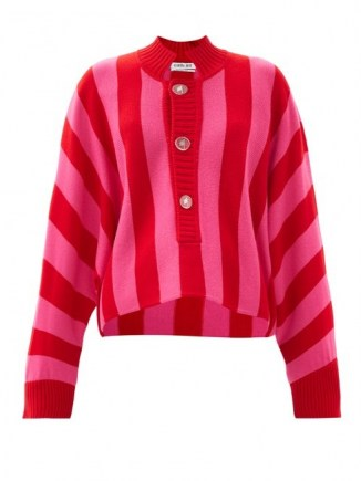 THE ATTICO Half-button striped merino-wool sweater ~ pink and red candy stripes ~ loose fit cardigans - flipped