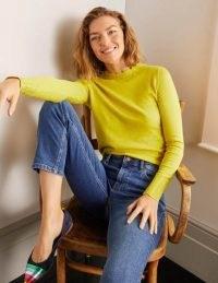 Boden Hambleden Scallop Jumper ~ chartreuse scalloped neck jumpers