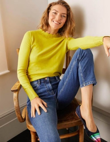 Boden Hambleden Scallop Jumper ~ chartreuse scalloped neck jumpers - flipped