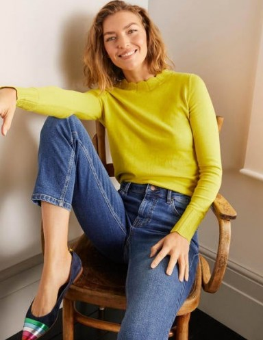 Boden Hambleden Scallop Jumper ~ chartreuse scalloped neck jumpers