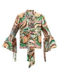 LA DOUBLEJ Happy Wrist bell-sleeve peacock-print silk blouse / vintage style prints / retro fashion