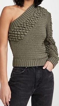 Helmut Lang Off Shoulder Top in Hunter Sage ~ textured chunky knit one shoulder tops ~ asymmetric knitwear