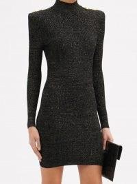 BALMAIN High-neck lamé knitted mini dress ~ LBD ~ metallic thread knits ~ padded shoulder eveing dresses