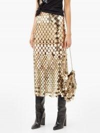 PACO RABANNE High-rise chainmail midi skirt ~ metallic gold skirts