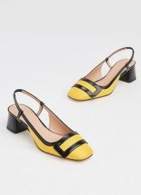 L.K. BENNETT HILARY YELLOW & BLACK LEATHER BLOCK HEEL SLINGBACKS ~ retro footwear ~ vintage style shoes