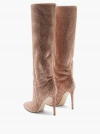 PARIS TEXAS Holly crystal-embellished suede knee-high boots ~ pink stiletto heel knee-high boots
