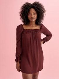 Reformation Hudsen Dress ~ plum coloured smock dresses ~ ruffle trim fashion