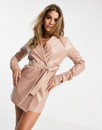 I Saw It First pu ruched sleeve blazer dress in dusty pink ~ faux leather dresses