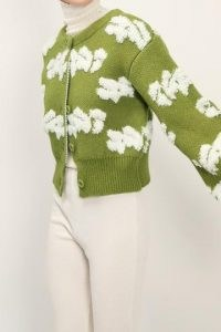 storets Lily Fuzzy Cloud Knit Cardigan   olive green cardigans