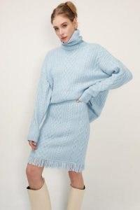 storets Rachel Turtle Neck Cable Knit Top   sky blue oversized slouchy sweater   high neck drop shoulder jumper