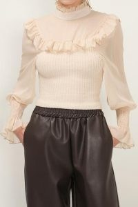 storets Josephine Knit Combo Blouse   knitted ruffle trim blouses