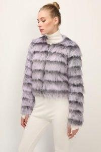 storets Melany Striped Cropped Faux Fur Jacket / fluffy crop hem jackets