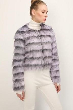 storets Melany Striped Cropped Faux Fur Jacket / fluffy crop hem jackets - flipped