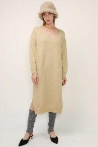 storets Lillian V-neck Knit Maxi Dress   beige sweater dresses