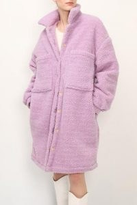 storets Khloe Quilted Teddy Coat ~ lavender teddy coats