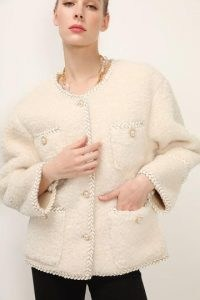storets Stella Braided Trim Borg Jacket ~ faux shearling jackets