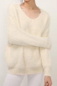 storets Aubrey Furry Sweater   fluffy ivory sweaters   textured V-neck jumper