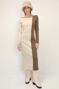 storets Cassidy Color Block Maxi Dress   tonal colourblock rib knit dresses