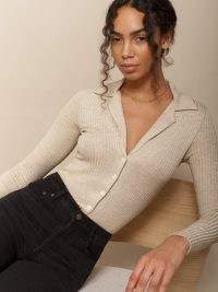 Reformation Irina Top   long sleeve collared tops   button up front