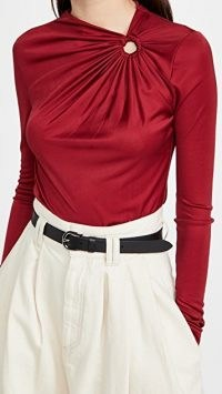 Isabel Marant Dwester Top ~ red asymmetric neckline tops ~ contemporary clothing