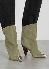 ISABEL MARANT Lapee 100 taupe suede ankle boots ~ silver detail pointed toe ~ cone heels