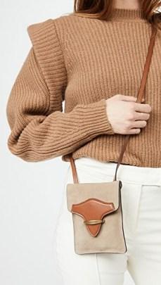 Isabel Marant Takury Bag | beige and tan crossbody - flipped