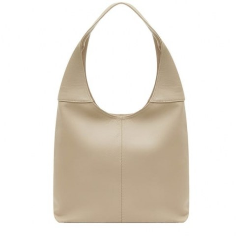 VodkaBlue Ivory Soft Leather Hobo Bag - flipped