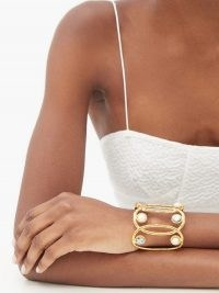 SYLVIA TOLEDANO Jackie pearl and abalone gold-plated cuff ~ luxe cuffs ~ statement jewellery