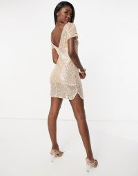 Jaded Rose Tall t-shirt mini dress in rose gold sequin | sequinned party dresses