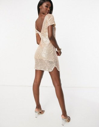 Jaded Rose Tall t-shirt mini dress in rose gold sequin   sequinned party dresses