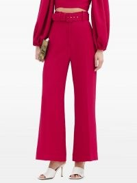 EMILIA WICKSTEAD Jana belted high-rise crepe trousers ~ bright fuchsia pink pants