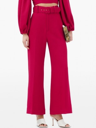 EMILIA WICKSTEAD Jana belted high-rise crepe trousers ~ bright fuchsia pink pants - flipped