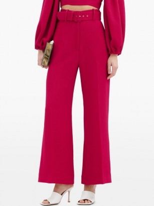 EMILIA WICKSTEAD Jana belted high-rise crepe trousers ~ bright fuchsia pink pants