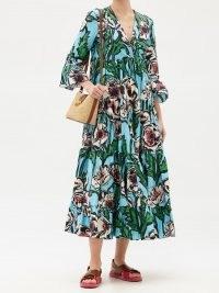 LA DOUBLEJ Jennifer Jane floral-print cotton midi dress | bold retro prints