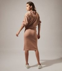 REISS JODIE KNITTED HOODIE DRESS CAMEL ~ casual hooded dresses