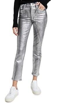 Joe's Jeans The Luna Ankle Metallic Lacquer Jeans / silver denim