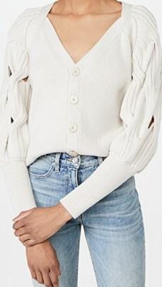 Jonathan Simkhai Kinley Open Cable Puff Sleeve Cardigan | feminine knitwear - flipped
