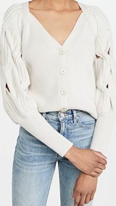 Jonathan Simkhai Kinley Open Cable Puff Sleeve Cardigan | feminine knitwear
