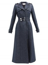 GABRIELA HEARST Karban piped linen-twill trench coat | blue denim-look double belt coats