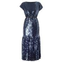 Meem Label Kate Blue Sequin Midi ~ tiered hem occasion dresses ~ sequinned evening wear