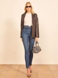 Reformation Kayo High & Skinny   waist detail skinnies   blue denim