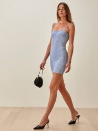 REFORMATION Kyla Dress / sky blue sparkle dresses