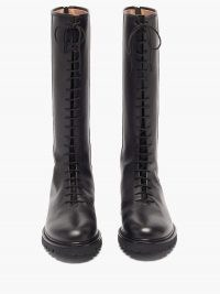 LEGRES Black lace-up knee-high leather boots