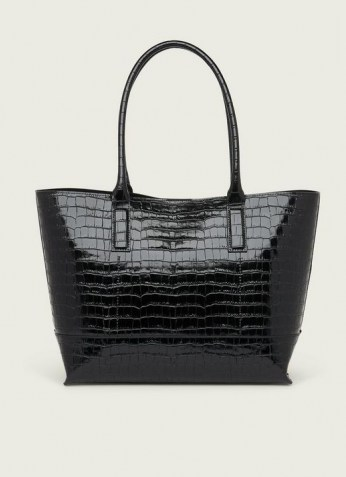 L.K. BENNETT LACEY BLACK CROC-EFFECT LEATHER TOTE BAG | roomy crocodile embossed bags - flipped