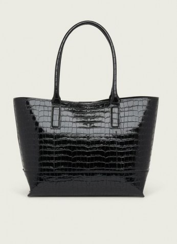 L.K. BENNETT LACEY BLACK CROC-EFFECT LEATHER TOTE BAG | roomy crocodile embossed bags