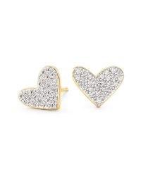 KENDRA SCOTT Large Heart 14k Yellow Gold Stud Earrings In White Diamond | luxe hearts | studs