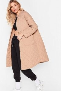 Layer It on the Line Quilted Longline Coat ~ beige quilt detail coats