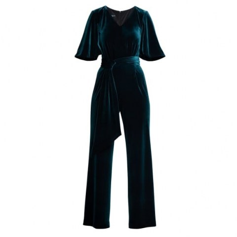 Rumour London Layla Velvet Jumpsuit With Bell Sleeves & Sash In Emerald Green | evening jumpsuits | party fashion - flipped