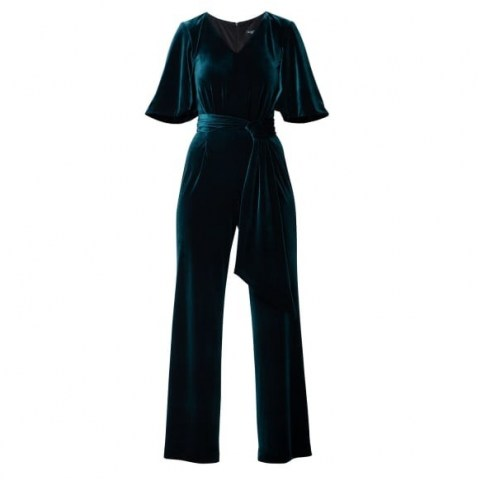 Rumour London Layla Velvet Jumpsuit With Bell Sleeves & Sash In Emerald Green | evening jumpsuits | party fashion