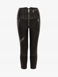 Alexander McQueen Leather Biker Trouser | skinny crop leg zip detail trousers